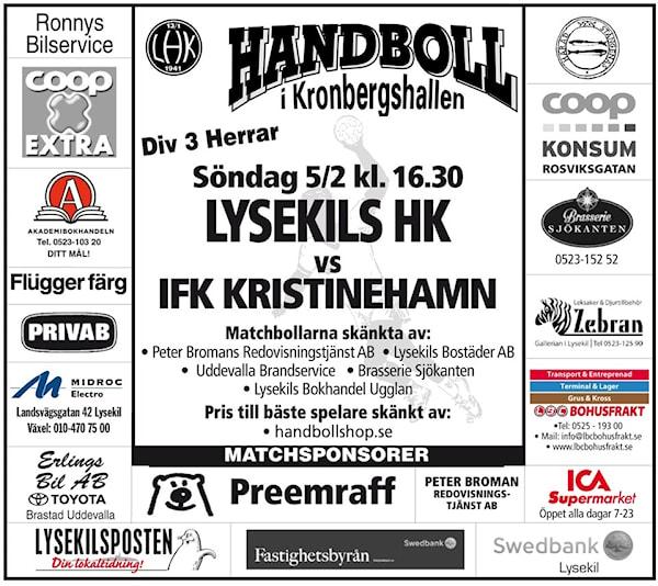 Herrmatch söndagen den 5 februari i Kronbergshallen.