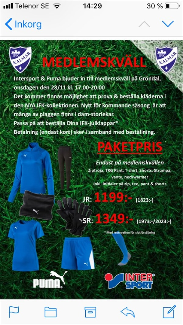 556dc6ef3ad9 Prova och beställ nya IFK-kläder | IFK Kalmar F-11 | laget.se